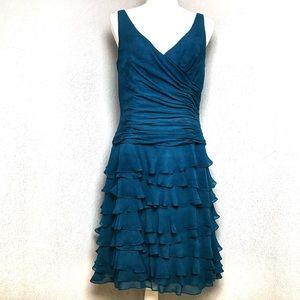 VTG 80s Kay Unger Ruching & Ruffles Silk Dress